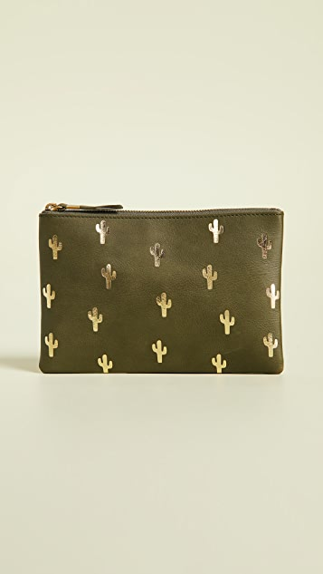 Madewell The Leather Pouch Clutch: Cactus Embossed Edition