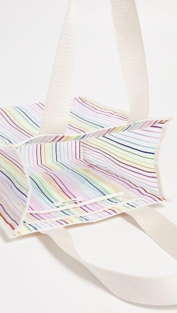 Madewell Объемная сумка с короткими ручками из сетки в радужную полоску