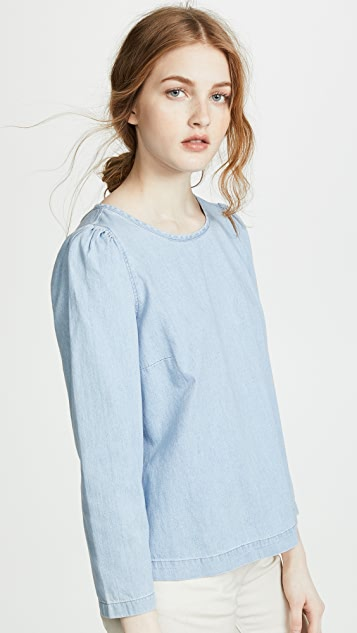 Madewell Denim Puff Sleeve Swing Shirt