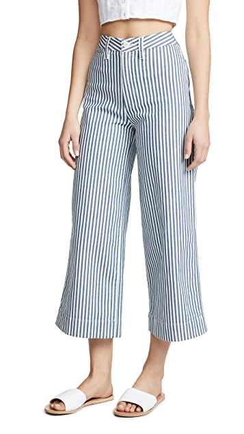 Madewell Emmett Wide-Leg Crop Pants in Herringbone Railroad Stripe