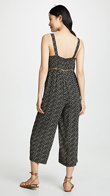Madewell Tall Button Front Wide-Leg Jumpsuit in Playground Posies
