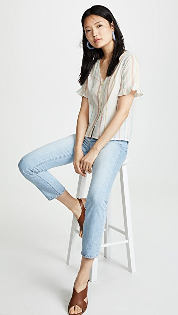 Madewell Sally Stripe Ruffle Button Down Shirt