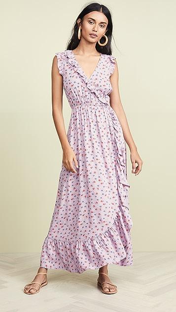 Madewell Ruffle-Edged Wrap Maxi Dress in Prairie Posies