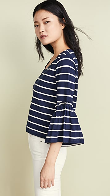 Madewell Ruffle Sleeve Top in Irwin Stripe