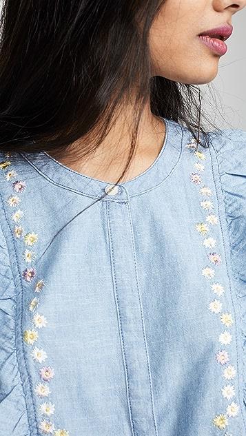 Madewell 花卉刺绣牛仔布荷叶边上衣