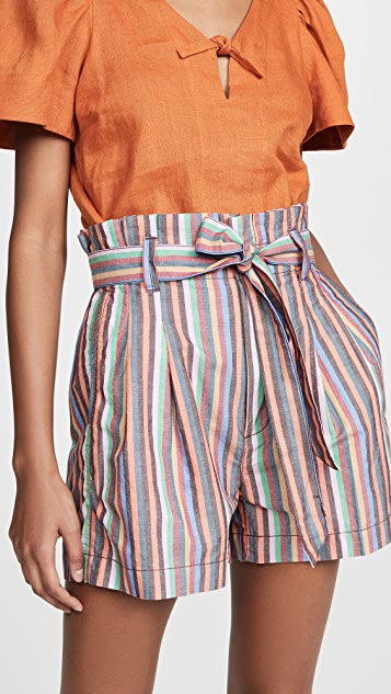 Madewell Paperbag Shorts in Rainbow Stripe