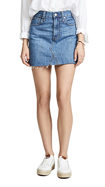 Madewell Rigid Denim A-Line Mini Skirt in Lakeline Wash: Eco Edition