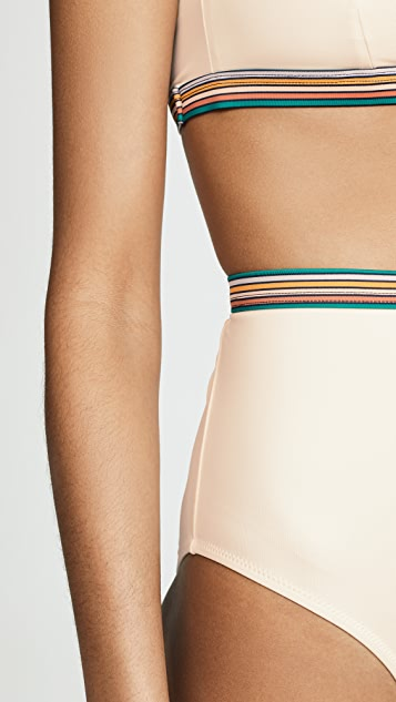 Madewell Second Wave Rainbow-Trimmed Retro High-Waisted Bikini Bottoms
