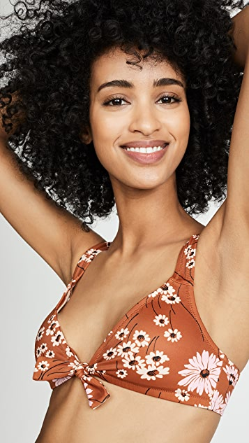 Madewell Second Wave Tie-Front Bikini Top in Hillside Daisies