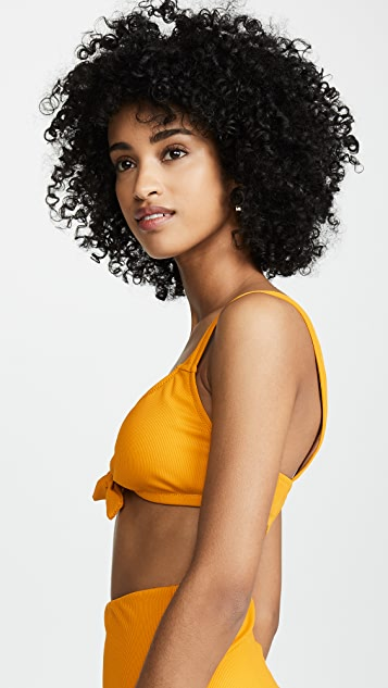 Madewell Second Wave Ribbed Tie-Front Bikini Top