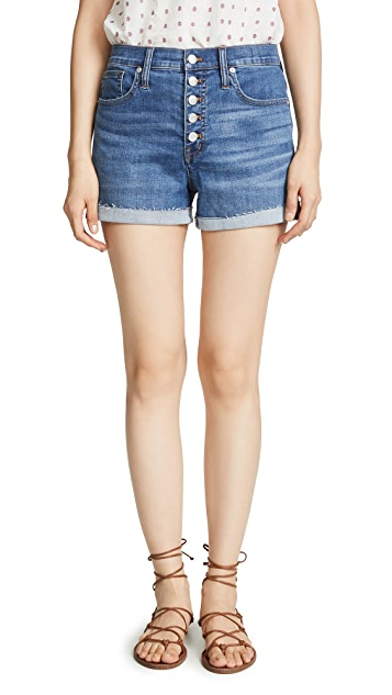 Madewell High Rise Denim Shorts in Derby Wash: Button-Front Edition