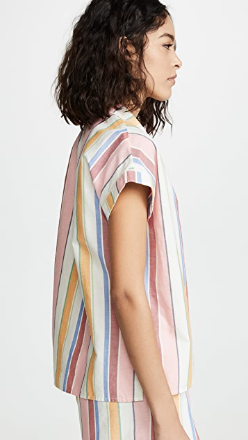 Madewell Bedtime Pajama Top in Rainbow Stripe