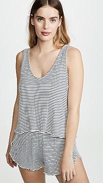 Ribbed Knit Pajama Tank Top in Stripe