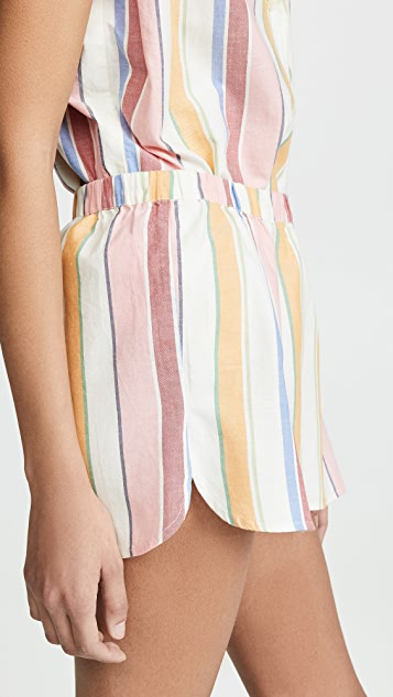 Madewell Bedtime Pajama Shorts in Rainbow Stripe