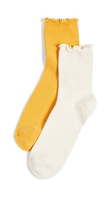 Madewell Носки до щиколотки с оборками, упаковка из двух пар