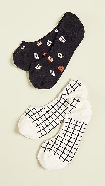 Madewell Набор из двух пар коротких носков Confetti с цветочным принтом