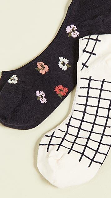 Madewell 两双装五彩纸屑花卉印花低口袜