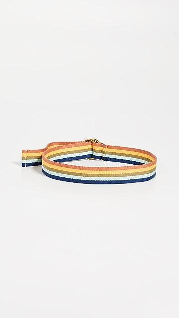 Madewell Rainbow Stripe O-Ring Webbing Belt