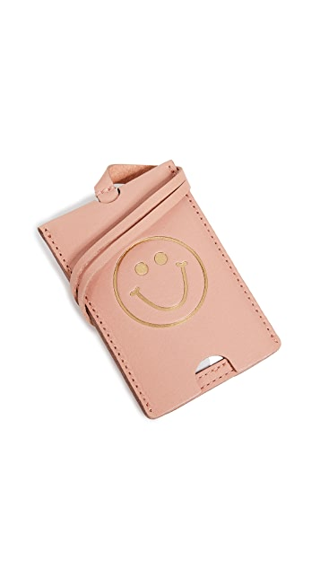 Madewell The Leather Luggage Tag: Smiley Face Edition