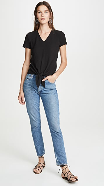 Madewell Modern V Neck Tie Front Tee