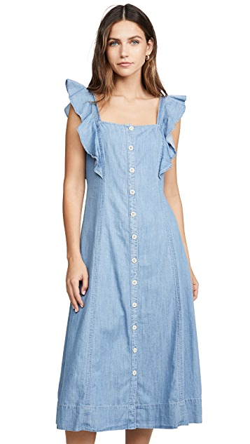 Madewell Denim Button Front Midi Dress