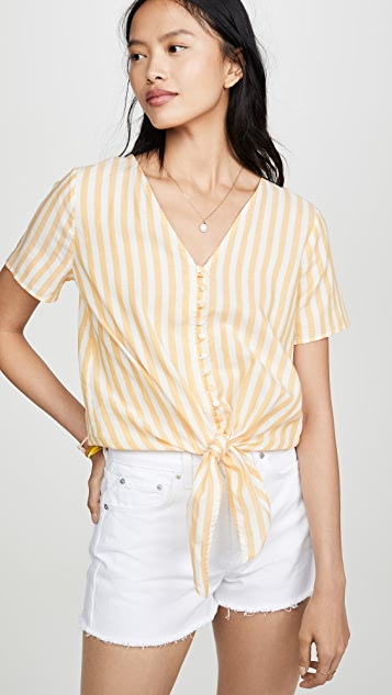 Madewell Tie Front Button Down Top