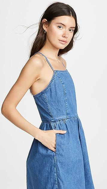 Madewell Платье из денима с перекрещенной отделкой на спине