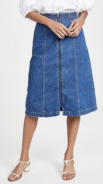 Madewell Миди-юбка с молнией спереди