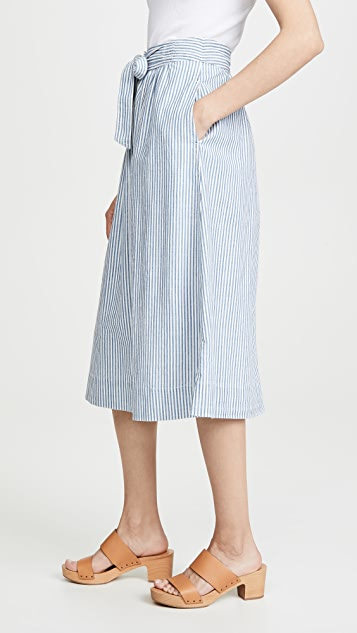 Madewell Midi A-Line Button Front Skirt