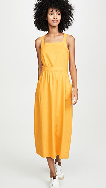 Madewell Garment Dyed Apron Midi Dress