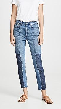 High Rise Slim Boyfriend Patching Jeans