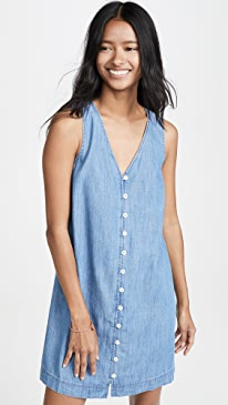 Denim Button Front Easy Dress