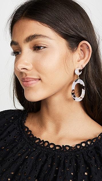 Madewell 椭圆形醋酸纤维塑料耳环