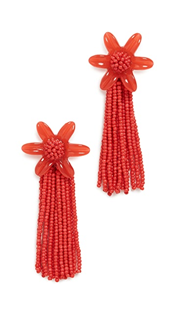Madewell 珠饰流苏花朵耳环