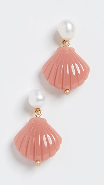 Madewell Imitation Pearl & Clam Shell Earrings