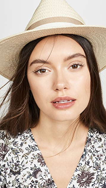 Classic Flat Brim Straw Hat With Ribbon by Madewell