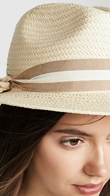 Madewell Classic Flat Brim Straw Hat with Ribbon