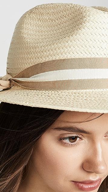 Madewell 经典平帽檐缎带草编帽