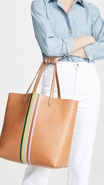 Madewell Классическая объемная сумка с короткими ручками Transport в радужную полоску
