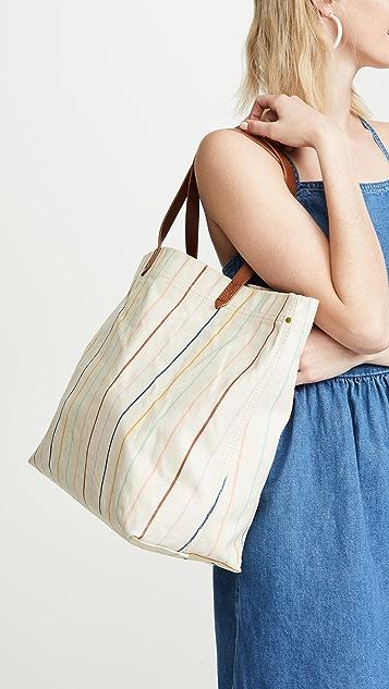 Madewell Объемная холщовая сумка с короткими ручками и принтом в полоску