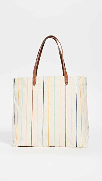 Madewell Printed Stripe Canvas Tote