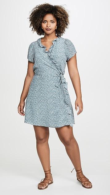 Madewell Silk Ruffle-Edge Wrap Dress