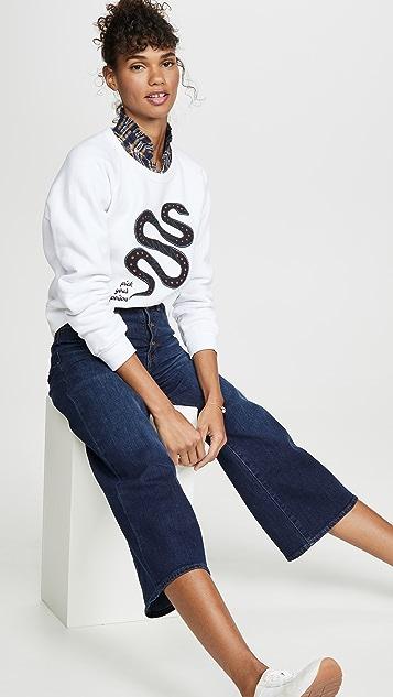 Madewell Широкие укороченные джинсы с пуговицей спереди