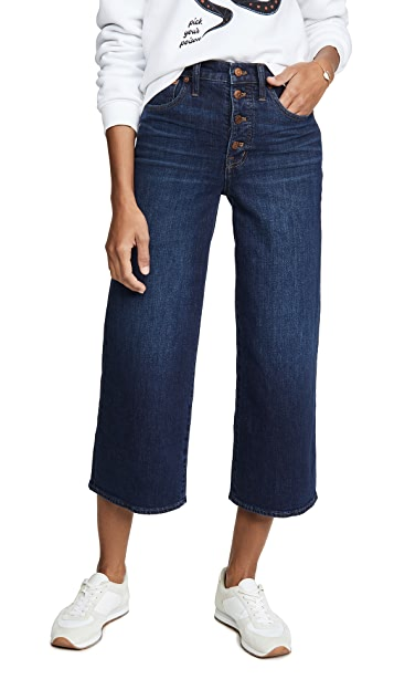 Madewell Button Front Wide Leg Crop Jeans