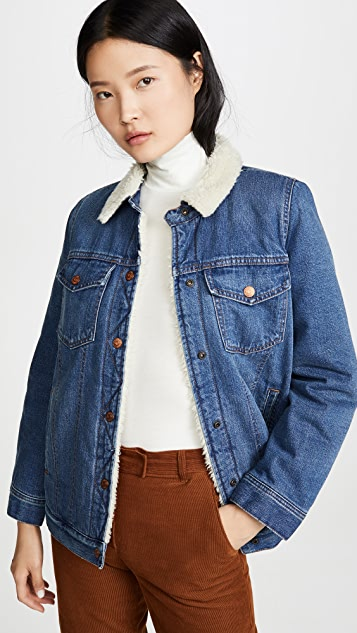 Madewell 仿羊羔绒衬里牛仔布夹克