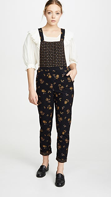 Madewell Cord Floral Overalls