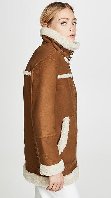 Madewell 连毛羊皮机车夹克