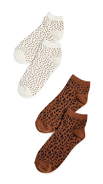 Madewell Painted Spots/Leopard Anklet Socks