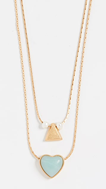 Madewell Layered Stone Heart Necklace Set