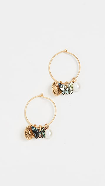 Madewell Garden Charms Hoop Earrings